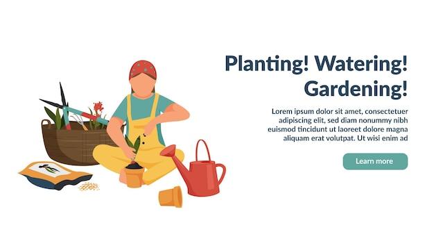 Wiosenny płaski sztandar ogrodniczy z anonimowym charakterem kobiety rosnącej rośliny w doniczce