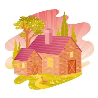 Wiosenny poranek wiejski dom krajobraz.