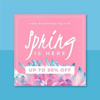 Wiosenny post na instagramie ze zdjęciami i tekstem