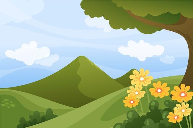 Wiosenny relaksujący krajobraz z kwiatami i zielonymi wzgórzami