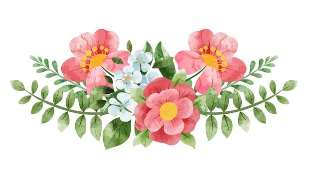 Wiosenny symetryczny streszczenie kwiatowy bukiet. drobne kwiatowe elementy. ręcznie rysowane ilustracji akwarela.
