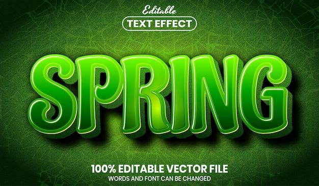 Wiosenny tekst, edytowalny efekt tekstowy w stylu czcionki