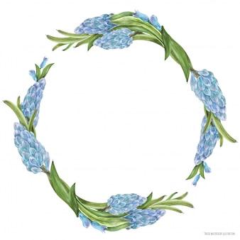 Wiosenny wieniec akwarela z kwiatami hiacyntu
