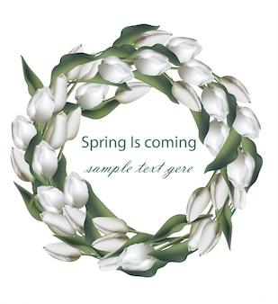 Wiosenny wieniec z białych kwiatów tulipanów