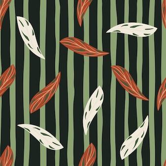 Wiosenny wzór spadających liści z białymi i pomarańczowymi kształtami liści