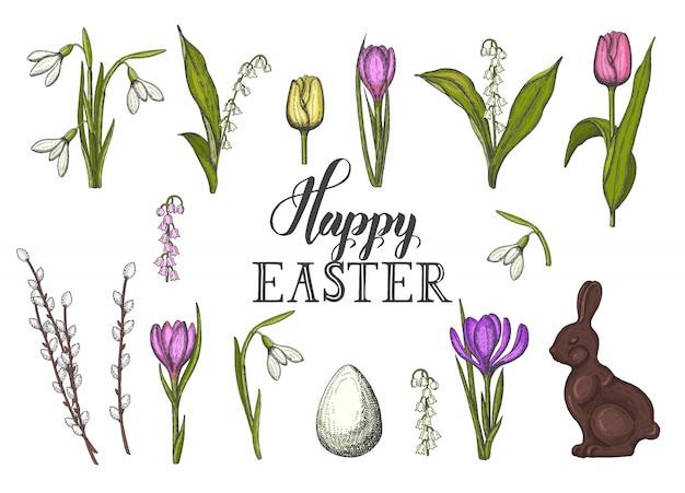 Wiosenny zestaw wielkanocny z ręcznie rysowane kolorowe pisanki, czekoladowy króliczek, konwalie, tulipan, przebiśnieg, krokus, wierzba. naszkicować. ręcznie wykonany napis - wesołych świąt