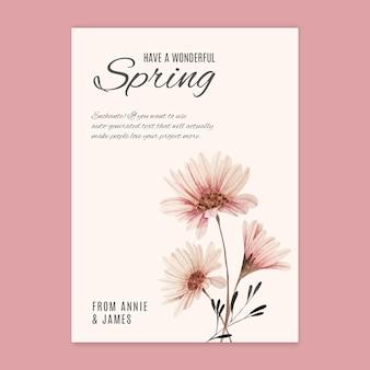 Wiosna a6 szablon karty z pozdrowieniami akwarela