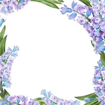 Wiosna akwarela ramki z kwiatami hiacyntu