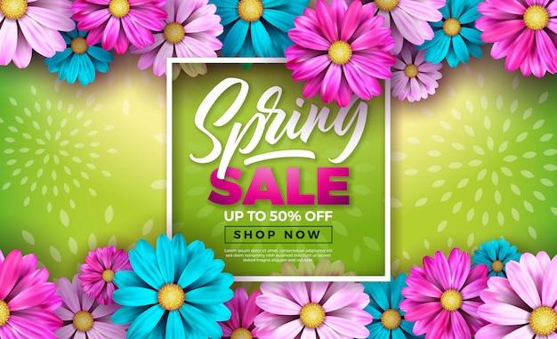 Wiosna banner. szablon kwiatowy wzór z listem typografii