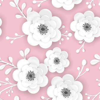 Wiosna czas kwiatowy tło z kwiatami 3d papercut. wzór z papieru origami cięcia kwiatu na tkaninę, nadruk tapety. ilustracja wektorowa
