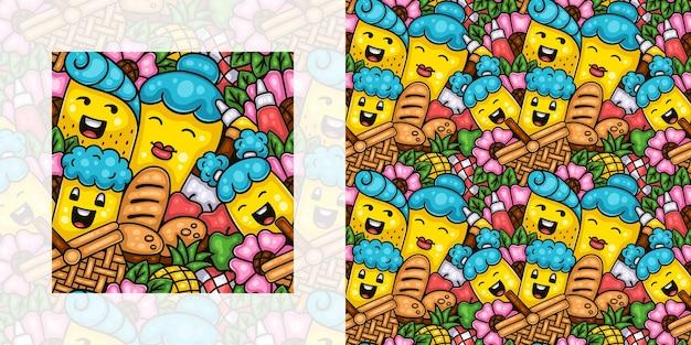 Wiosna doodle wzór czasu pikniku rodzinnego