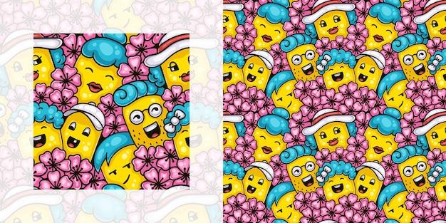 Wiosna doodle wzór dzieci i dorosłych korzystających z kwiatu wiśni