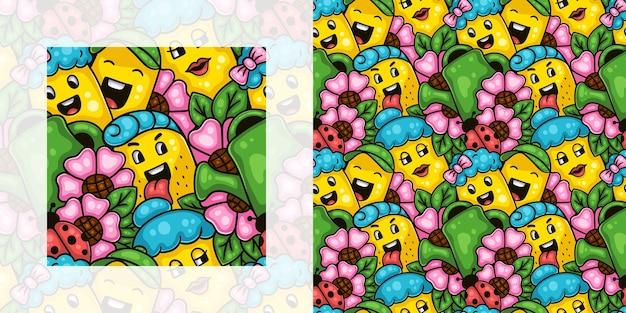 Wiosna doodle wzór dzieci i rodziców korzystających z ogrodu kwiatowego