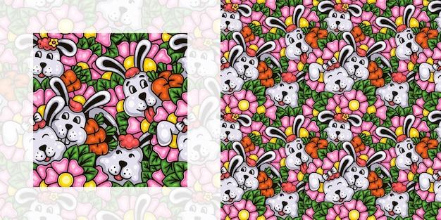 Wiosna doodle wzór ślicznych króliczków i kwiatów