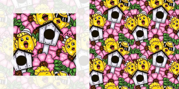 Wiosna doodle wzór śpiewu ptaków w ogrodzie kwiatowym