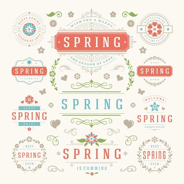Wiosna etykiety typografii i szablony stylu odznaki.
