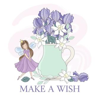 Wiosna fairy iris bukiet kwiatów wektor