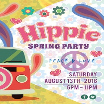 Wiosna hippie party poster