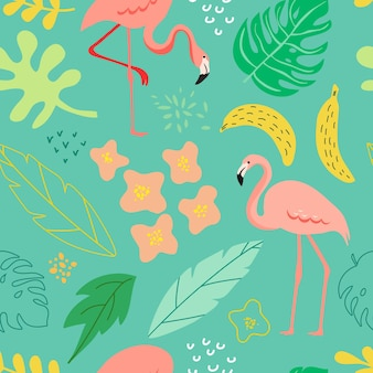 Wiosna i lato bezszwowe tło z flamingo, rośliny tropikalne, liście, kwiaty na wzór, baner, kartkę z życzeniami, plakat, okładkę. ilustracja wektorowa