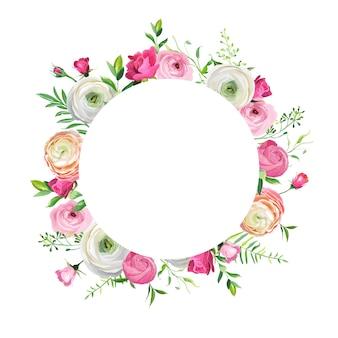 Wiosna i lato kwiatowy rama do dekoracji świątecznych. zaproszenie na ślub, szablon karty z pozdrowieniami z kwitnących różowe kwiaty. ilustracja wektorowa