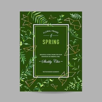 Wiosna i lato kwiatowy rama z tropikalnymi liśćmi i geometrycznymi kształtami