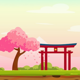 Wiosna japonia ilustracja z tradycyjnym łukiem