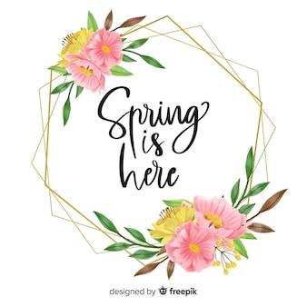 Wiosna jest tutaj ramką z kwiatowym wzorem