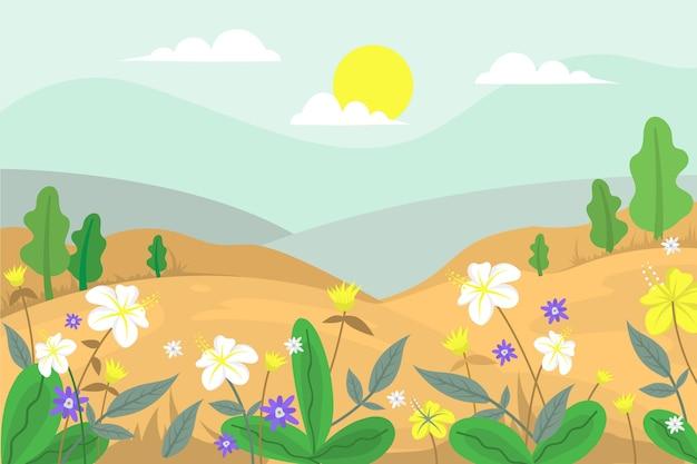 Wiosna krajobraz kolorowa scena
