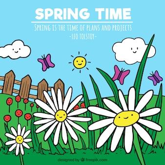 Wiosna krajobraz tła z ręcznie rysowane stokrotki