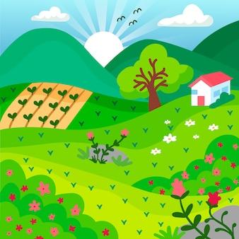 Wiosna krajobraz w ręku rysowane