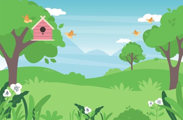 Wiosna krajobraz wsi z zieloną łąką na wzgórzach i błękitne niebo