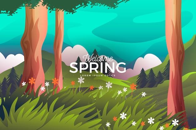 Wiosna krajobraz z drzewami i kwitnącą równiną