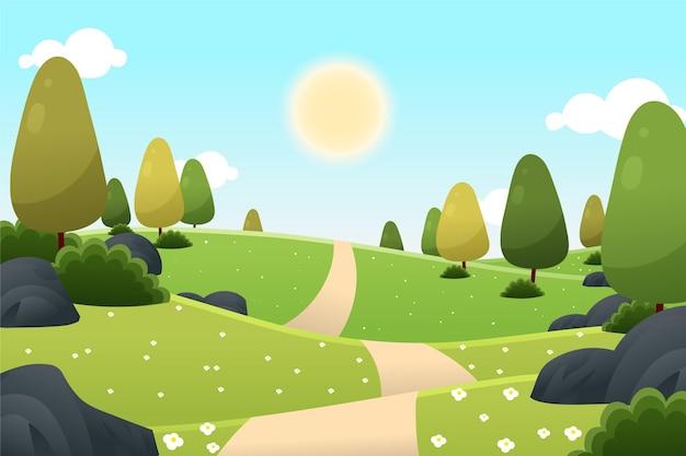 Wiosna krajobraz z drzewami i słońcem