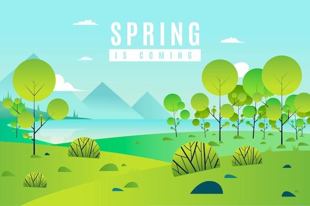 Wiosna krajobraz z drzewami i zielenią