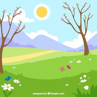 Wiosna krajobraz z dwa drzewami