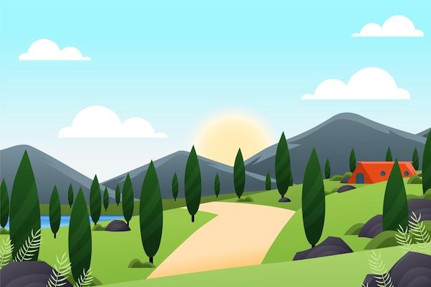 Wiosna krajobraz z górami i drzewami