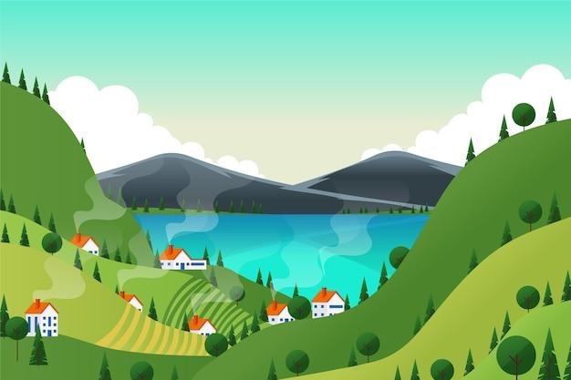Wiosna krajobraz z jeziorem