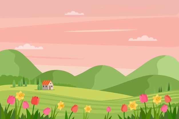 Wiosna krajobraz z kwiatami i trawą