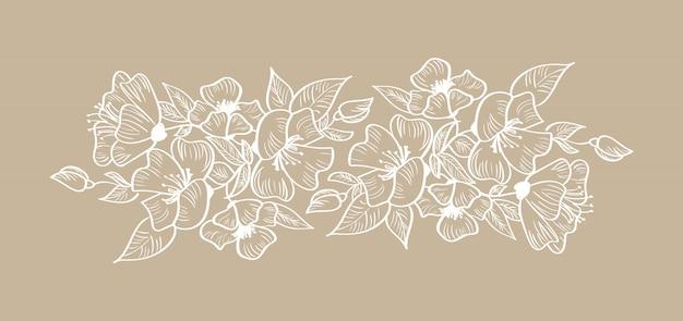 Wiosna kwiatowy rama ornament skandynawski tropikalny na białym tle