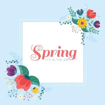 Wiosna kwiatowy rama w płaskiej konstrukcji