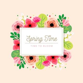 Wiosna kwiatowy rama z kolorowymi kwiatami