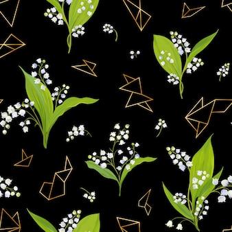 Wiosna kwiatowy wzór z kwiatami lily valley i złote elementy geometryczne. lato kwitnące tło dla tkanin, tekstyliów, dekoracji, tapet. ilustracja wektorowa