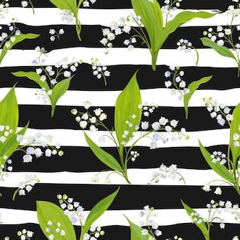Wiosna kwiatowy wzór z kwiatami lily valley. wiosna kwitnące tło dla tkanin, tekstyliów, dekoracji, tapet. ilustracja wektorowa