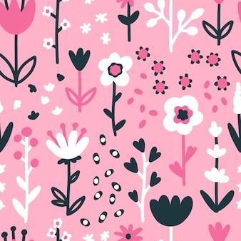 Wiosna kwiatowy wzór z kwiatami.