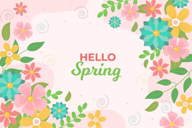 Wiosną kwitnące kwiaty tło płaska konstrukcja
