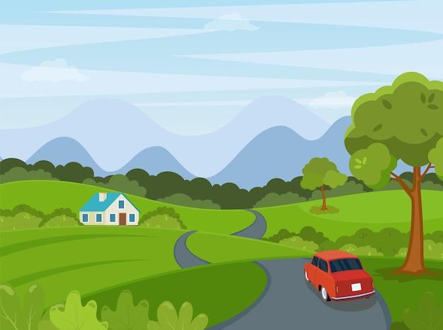 Wiosna, lato kreskówka krajobraz z samochodem na tle drogi.