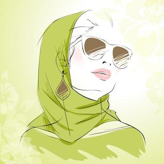 Wiosna mody dziewczyny portret w zielonych kolorach