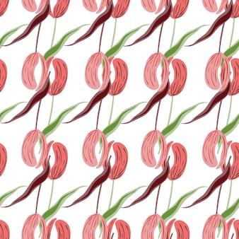 Wiosna na białym tle sezonowy kwiatowy wzór z różowe tulipany proste kwiaty kształtów. białe tło. projekt graficzny do owijania tekstur papieru i tkanin. ilustracja wektorowa.