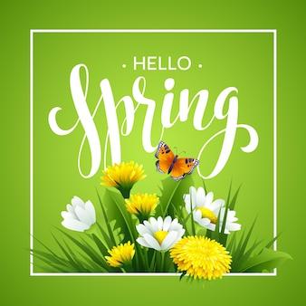 Wiosną napis na tle wiosennych kwiatów. kwiatowy tło wiosna. wiosenne kwiaty. wiosenne kwiaty wzór tła na wiosnę