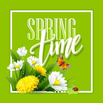Wiosną napis na tle wiosennych kwiatów. kwiatowy tło wiosna. wiosenne kwiaty.